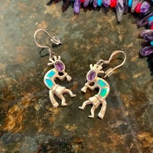 Jewelry - Sterling, amethyst & opal Kokapelli earrings